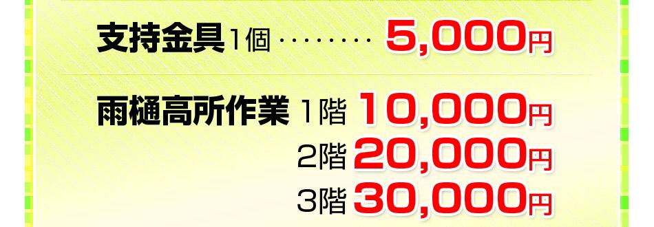 支持金具1個1,000円雨樋高所作業 2階10,000円 3階18,000円