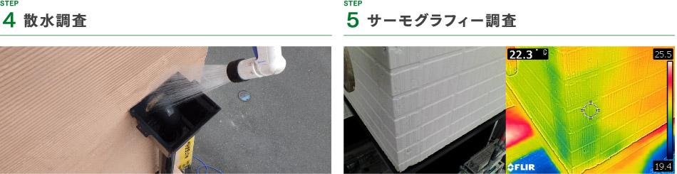step4 調査散水調査、step5 サーモグラフィー